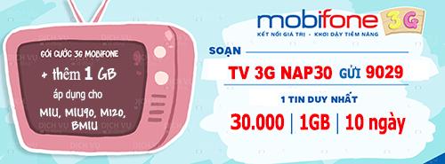 Đăng ký Xem tivi miễn 100% data 3G với dịch vụ Mobifone TV